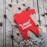 Новогодний детский комбинезон человечек слип для малышей Little Santa