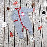 Человечек слип комбинезон для новорожденного на новый год Дед Мороз