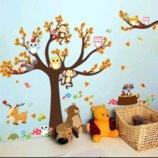 Интерьерная наклейка Осеннее дерево с зверятами