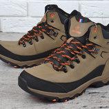 Ботинки мужские зимние кожаные трекинговые Restime Outdoor Waterproof хаки