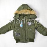 Демисезонная куртка для мальчика утепленная хаки V 1-4 лет 3611