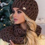 Комплект «Эустома» шапка и шарф-хомут Braxton, цвета разные