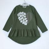 6-12л Туника сердце Breeze girls 116-152 т/зеленый плотный трикотаж