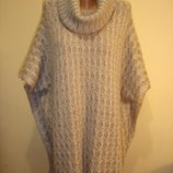 Теплое вязаное пончо-свитер с высоким воротом f&f 14-16-18 р сток