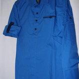 Рубашка синяя трансформер 7-12