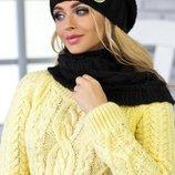 Комплект «Вираж» шапка и шарф-хомут Braxton, черный