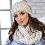 Комплект «Бетти» шапка и шарф-хомут Braxton, светлый кофе