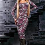 Элегантное платье футляр с цветочным принтом 886