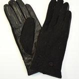 Женские кашемировые перчатки с кожаной ладошкой на плюшевой подкладке
