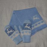 Зимние рукавицы и шарф на 2-3г.