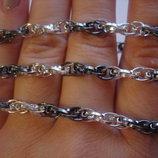 Супер модное двухцветное плетение Кордовая, цепь и браслет. Серебро 925 Цепь - длина 60 см, вес 21