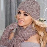 Комплект «Эрика» шапка, шарф и варежки Braxton, цвета разные
