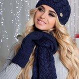 Комплект «Анабель» шапка, шарф и варежки