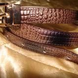 новый женский ремень Anthoni Brown оригинал кожа Германия под крокодил коричневый