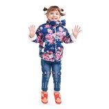 Демисезонная куртка цветочная на меху курточка в наличии на девочку 410005,410007