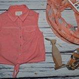 7 - 8 лет 128 см Рубашка блузка блуза джинсовая для модниц легкая натуральная