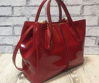 d76b2fb355c Стильная кожаная сумка натуральная кожа красная глянец 1716  1870 ...