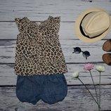 4 - 5 лет 110 см H&M натуральная рубашка блузка блуза для модниц легкая леопард