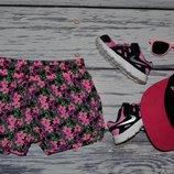 7 - 8 лет 128 см фирменные яркие легкие шорты шортики цветы