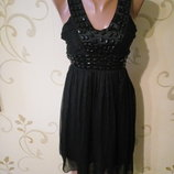 Маленькое черной коктейльное платье сарафан из органзы . Размер S/M .
