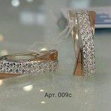 Серебряный серьги с золотой напайкой и цирконием