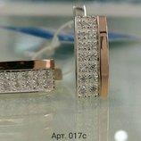 Серьги серебряный с золотой пластиной