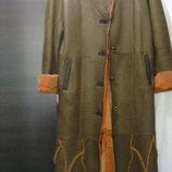 Натуральная длинная, кожаная дубленка разм 40-42 европейский