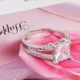 Кольцо anelli, под серебро с большим кристаллом