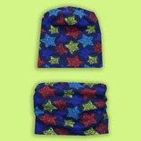 Легкая шапочка шарфик, снуд, хомут комплект разные принты