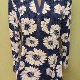 Джемпер цвет джинс Ромашки 50-60 размеры