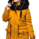 Зимняя женская куртка с мехом до 56 размера