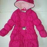 Яркое малиновое пальто-куртка 3-5 лет