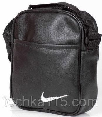 Мужская кожаная сумка через плече NIKE большая, логотип белый