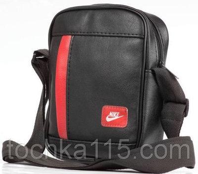Мужская кожаная сумка через плече NIKE найк черная красная