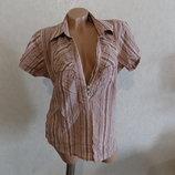 Блузка в полоску с V-образным вырезом с коротким рукавом Ginoma размер 48-50