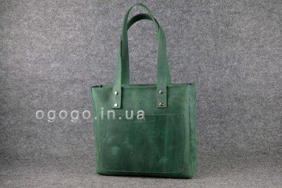c1169099c994 Кожа. Ручная работа. Кожаная зеленая женская сумка-шопер ручной работы.  K00009-