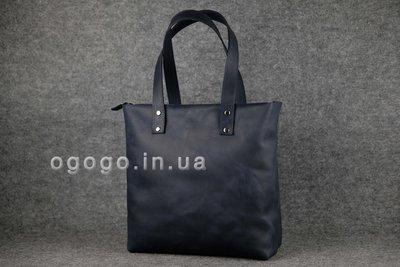 5ed42709dd91 Кожа. Ручная работа. Большая синяя кожаная женская сумка шопер K00009-11