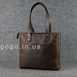 Кожа. Ручная работа. Кожаная темно-коричневая женская сумка-шопер ручной работы K00009-2