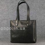 Кожа. Ручная работа. Кожаная черная женская сумка-шопер ручной работы K00009-4