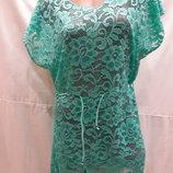 Платье-Туника пляжное Грейс 025-2 цвет мята на наши 48-54 размеры