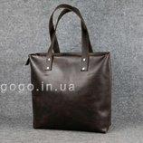 Кожа. Ручная работа. Большая темно-коричневая кожаная женская сумка шопер K00009-12