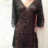 Платье-Туника пляжное 025 Тиффани черное на наши 46-52 размеры