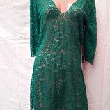 Платье-Туника пляжное 025 Тиффани темно-зеленое,идет на наши 46-52 размеры