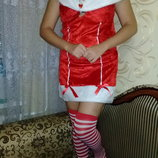 Карнавальный костюм Помощьница Санты взрослый.