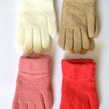 Детские трикотажные перчатки для девочек - длина 18 см