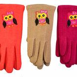 Детские трикотажные перчатки с сенсорными пальчиками на флисовой подкладке