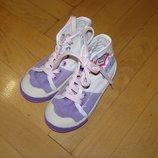 Джинсовые фиолетово-белые кеды для девочки размер 24