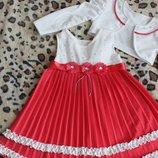 Платье кораллового цвета с белым болеро