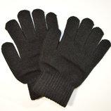 Детские трикотажные перчатки черные - длина 17 см