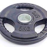 Блины обрезиненные диски обрезиненные с тройным хватом и металлической втулкой 5706-5 вес 5кг